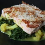 Coconut Crusted Salmon over Cauliflower and Kale