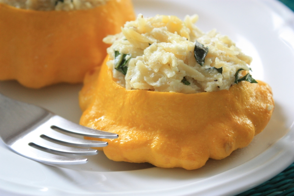 Patty Pan Squash Stuffed with Basil Orzo