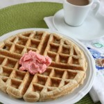 Whole Grain Rhubarb Waffles with Strawberry Butter