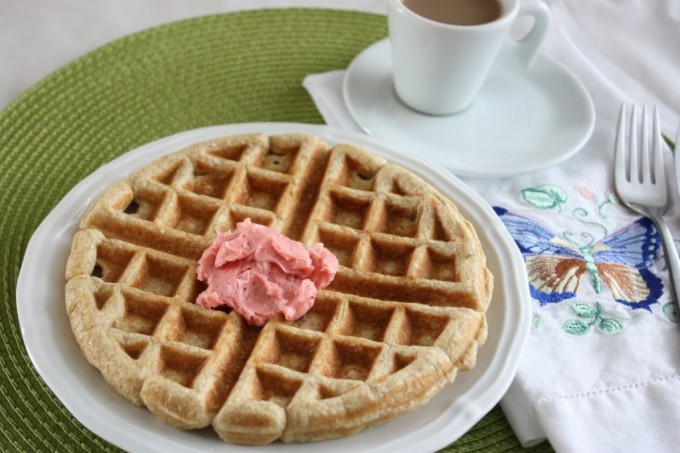 Whole Grain Rhubarb Waffles with Strawberry Butter   Fake Food Free