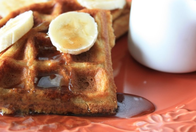 Cornmeal Waffles with Bananas Foster Sauce | Fake Food Free