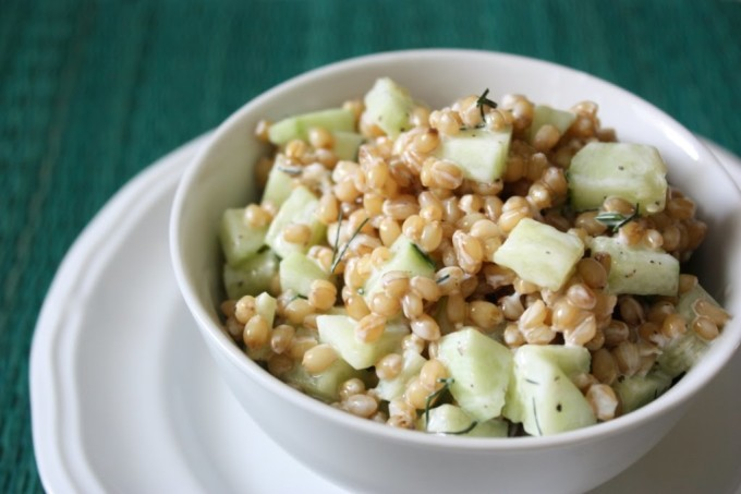 Cucumber Dill Wheat Berry Salad | Fake Food Free | A hearty cold grain salad with a tangy yogurt dressing and refreshing cucumber.