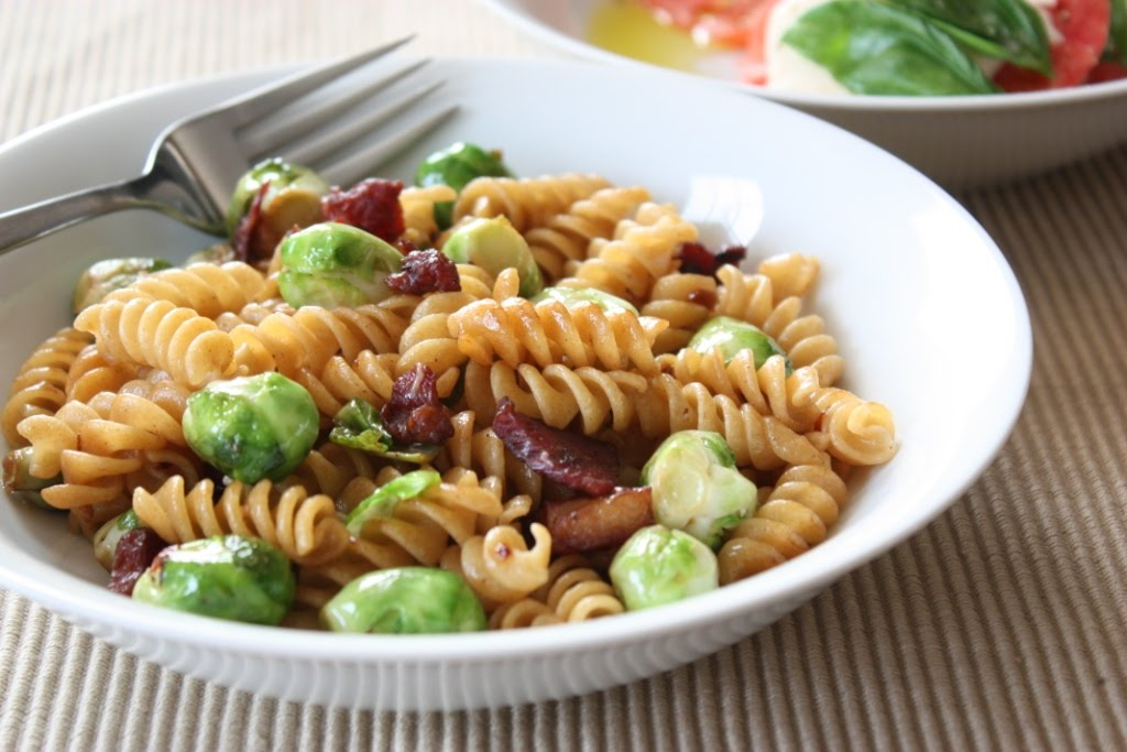 Bacon and Brussels Sprouts Pasta with Parmesan | Fake Food Free