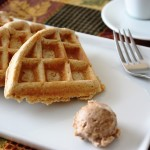 Bourbon Sweet Potato Waffles with Maple Cinnamon Butter