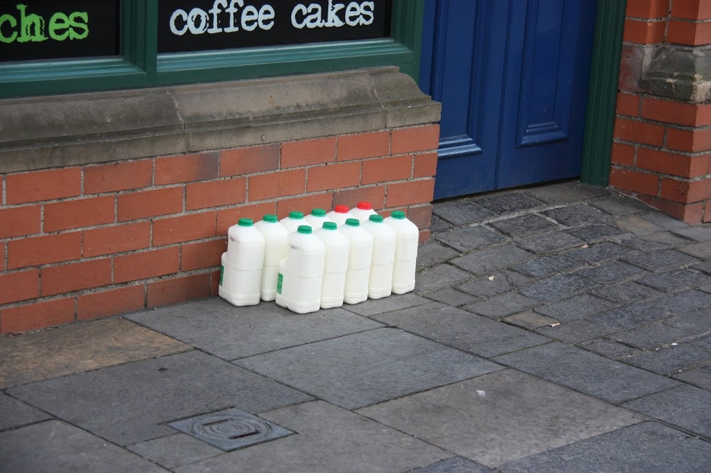Milk delivery at a cafe in Belfast