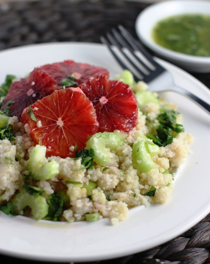 Blood Orange Bulgur Wheat Salad with Honey, Meyer Lemon & Cilantro Dressing | Fake Food Free