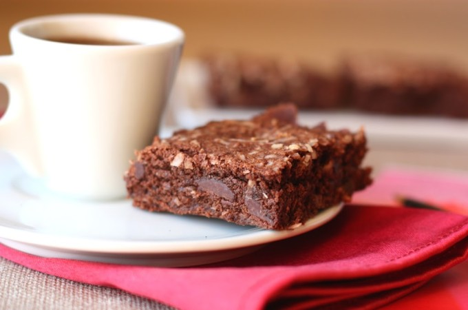 Salted Dark Chocolate Coconut Brownies | Fake Food Free | Rich chocolate brownies made with coconut oil.