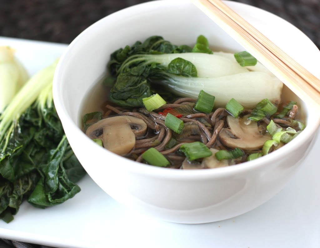 Soba Noodles and Mushrooms in a Ginger Garlic Broth Recipe | Fake Food Free