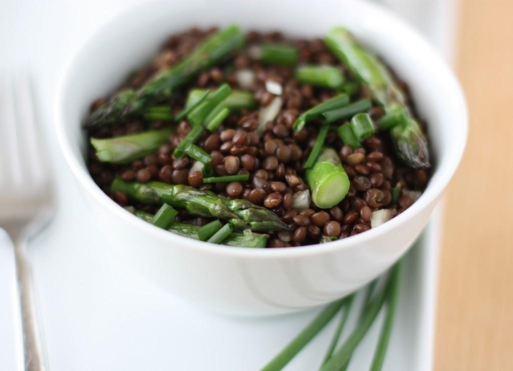 Black Lentil Salad with Roasted Asparagus Recipe | Fake Food Free