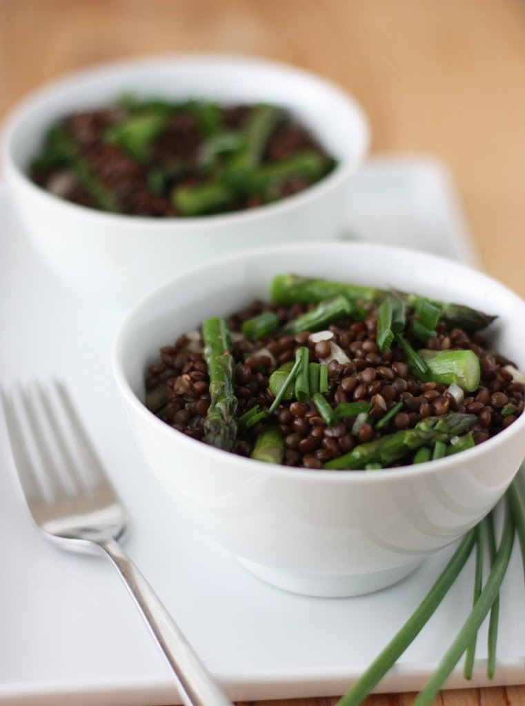 Black Lentil Salad with Roasted Asparagus Recipe