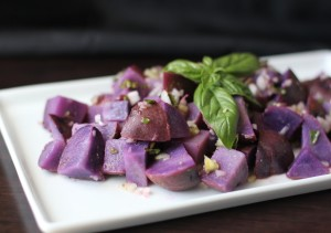 Blue Potato Salad with Lemon Basil Vinaigrette | Fake Food Free