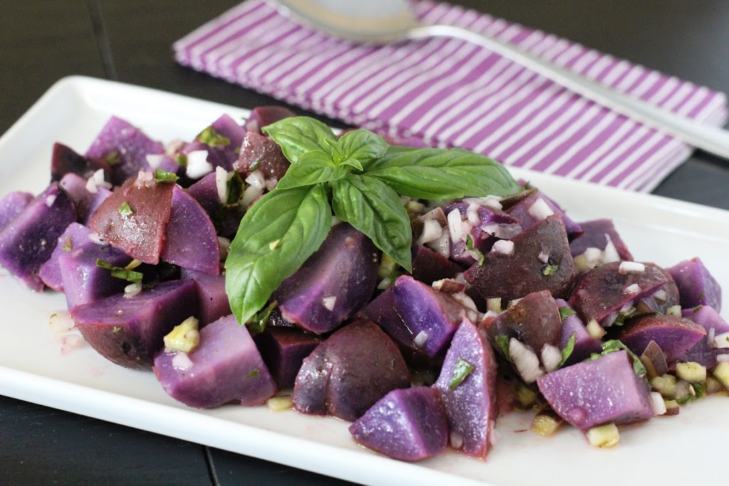 Blue Potato Salad with Lemon Basil Vinaigrette Recipe. A great summer side dish.