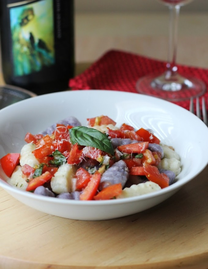Blue and White Potato Gnocchi with Fresh Red Tomato Sauce Recipe | Fake Food Free
