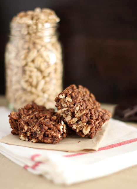Chewy Chocolate-Tahini Puffed-Grain Squares | Fake Food Free | A whole grain chocolate snack!