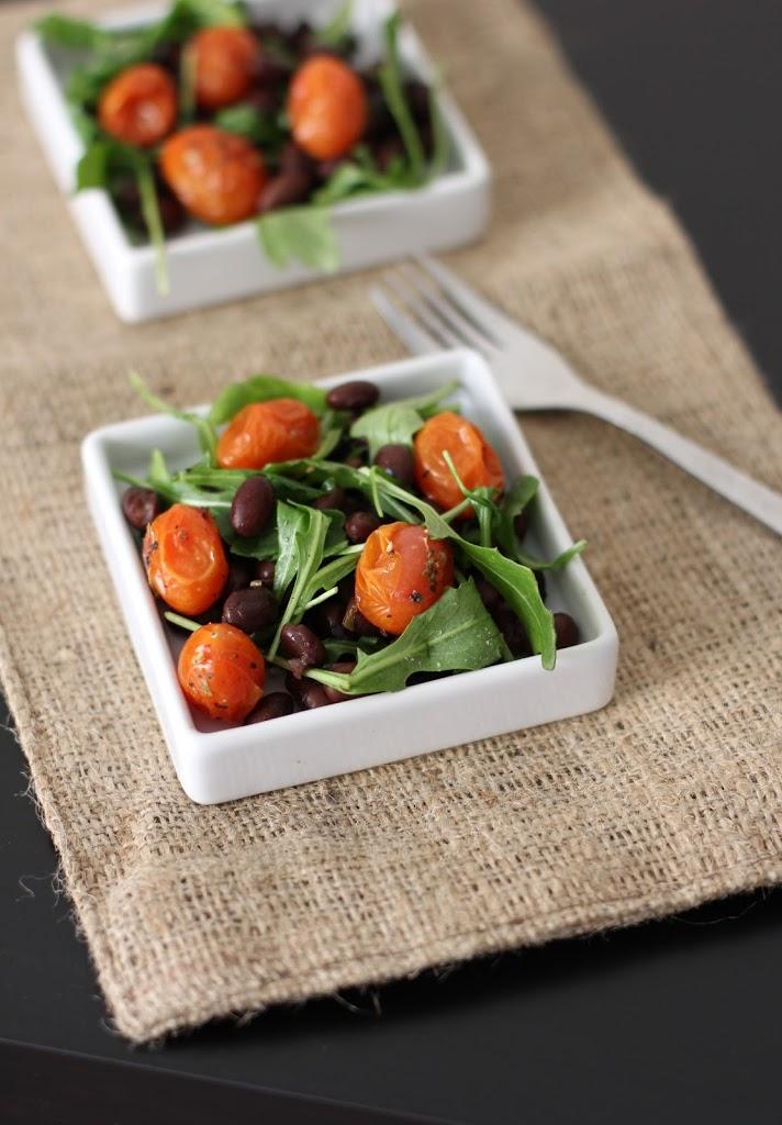 Roasted Tomato, Black Bean and Arugula Salad Recipe | Fake Food Free