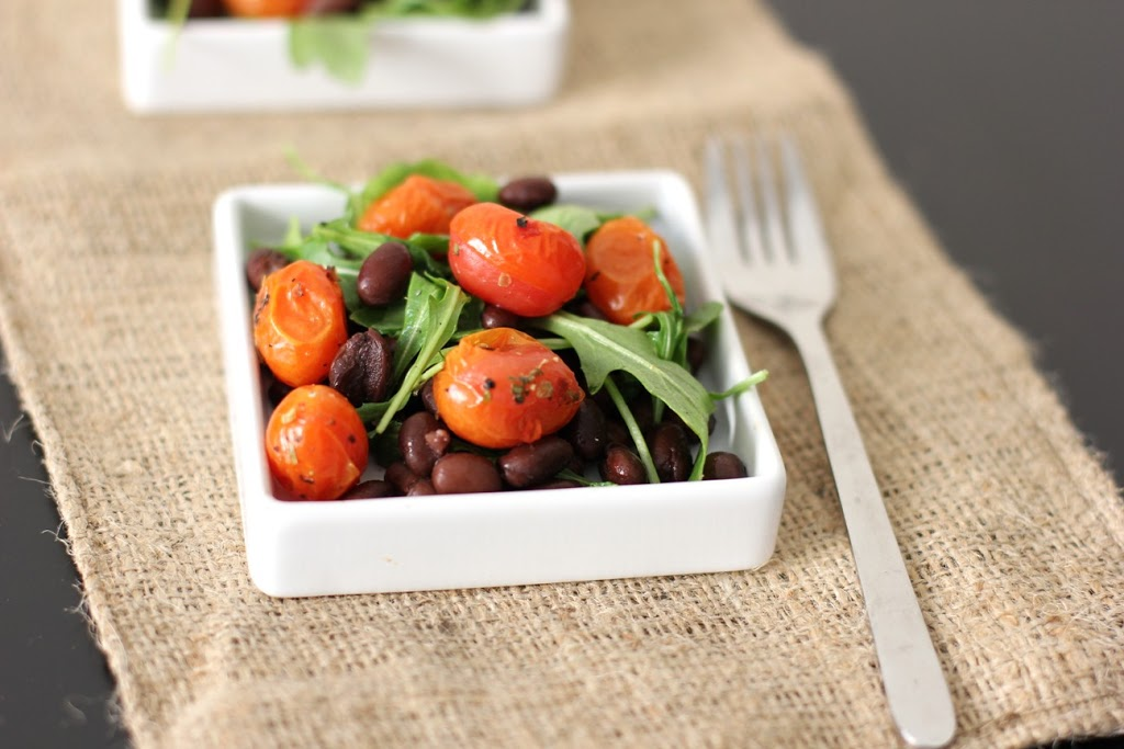 A simple salad recipe with Roasted Tomato, Black Bean and Arugula
