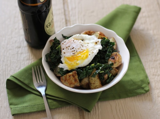 Guinness Braised Kale with Roasted Potatoes and Poached Eggs Recipe | Fake Food Free