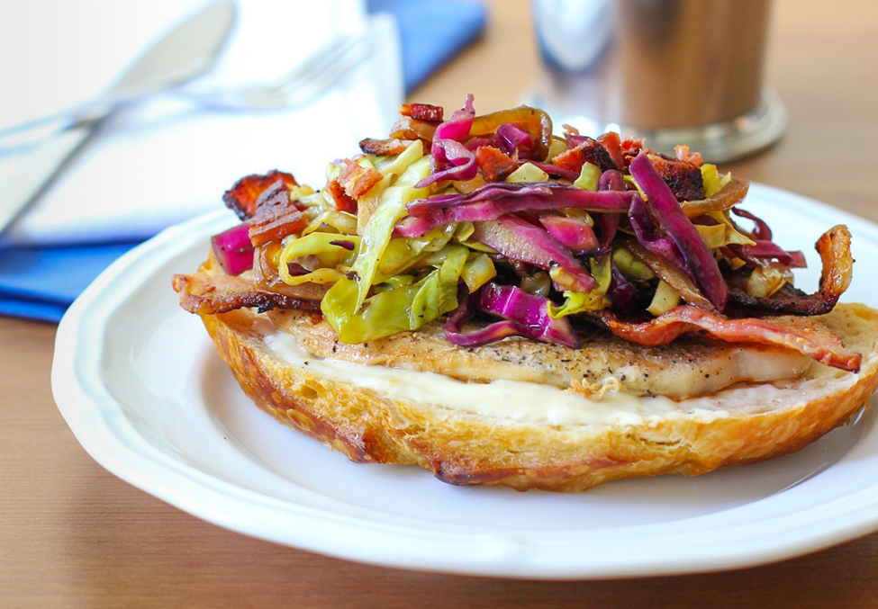 Open-faced Bacon Turkey Sandwich with Kentucky Hot Slaw and Maple ...
