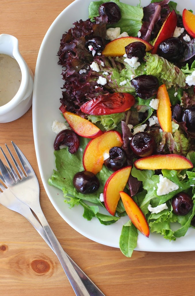 Roasted Cherry and Nectarine Salad with Honey-Walnut Dressing | Fake Food Free