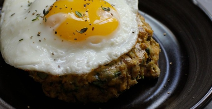 Salmon and Spinach Cakes with Fried Eggs Recipe