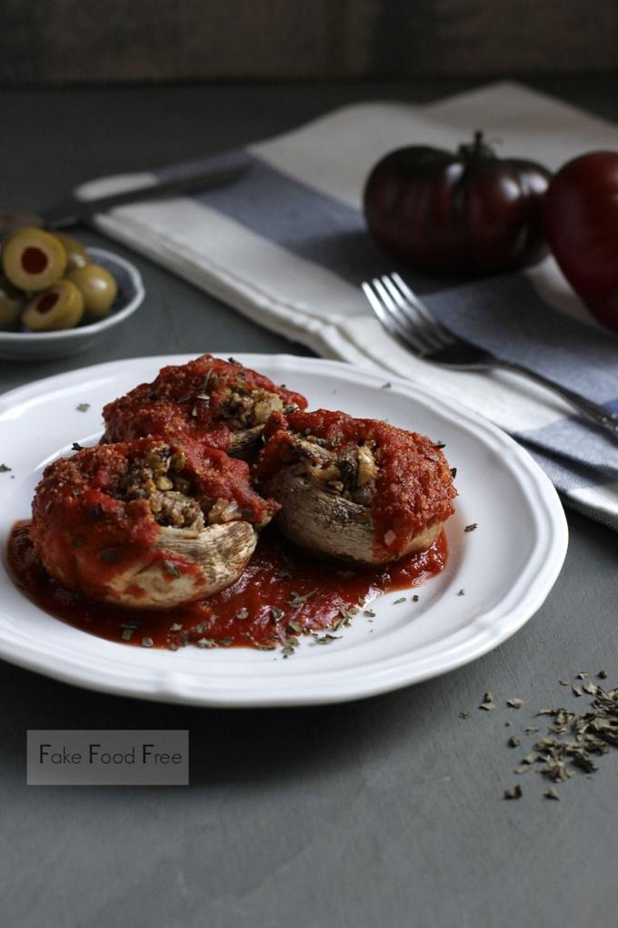 Olive Stuffed Mushrooms Marinara Recipe | Fake Food Free