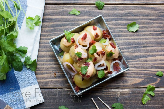 Baby Dutch Yellow Potatoes with Smoky Sauce, Pickled Shallots and Bacon | Fake Food Free