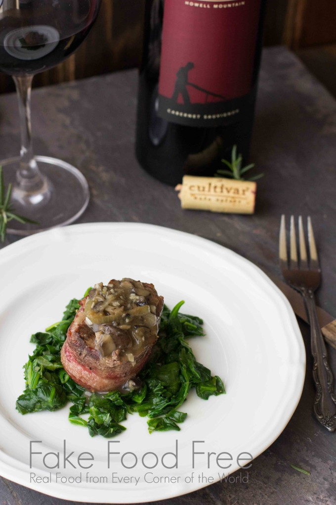 Beef Medallions with Spinach and Arugula Paired with Cultivar Wine | Fake Food Free