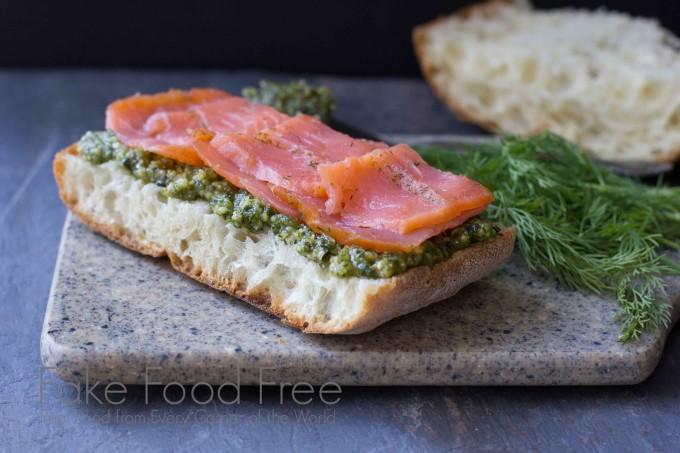 Smoked Salmon Sandwich with Dill Pesto and Avocado | Fake Food Free
