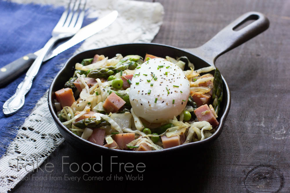 Skillet Spring Vegetables with Ham and Poached Eggs