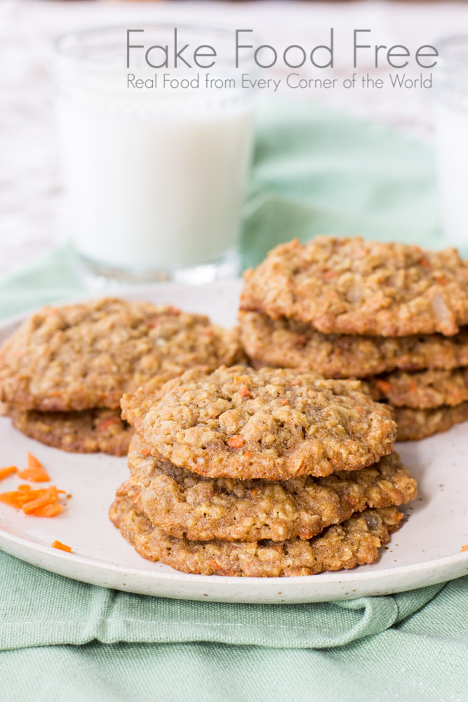 Candied Ginger and Carrot Cookies | Fake Food Free | Spiced oatmeal cookies made with shredded carrot and candied ginger.