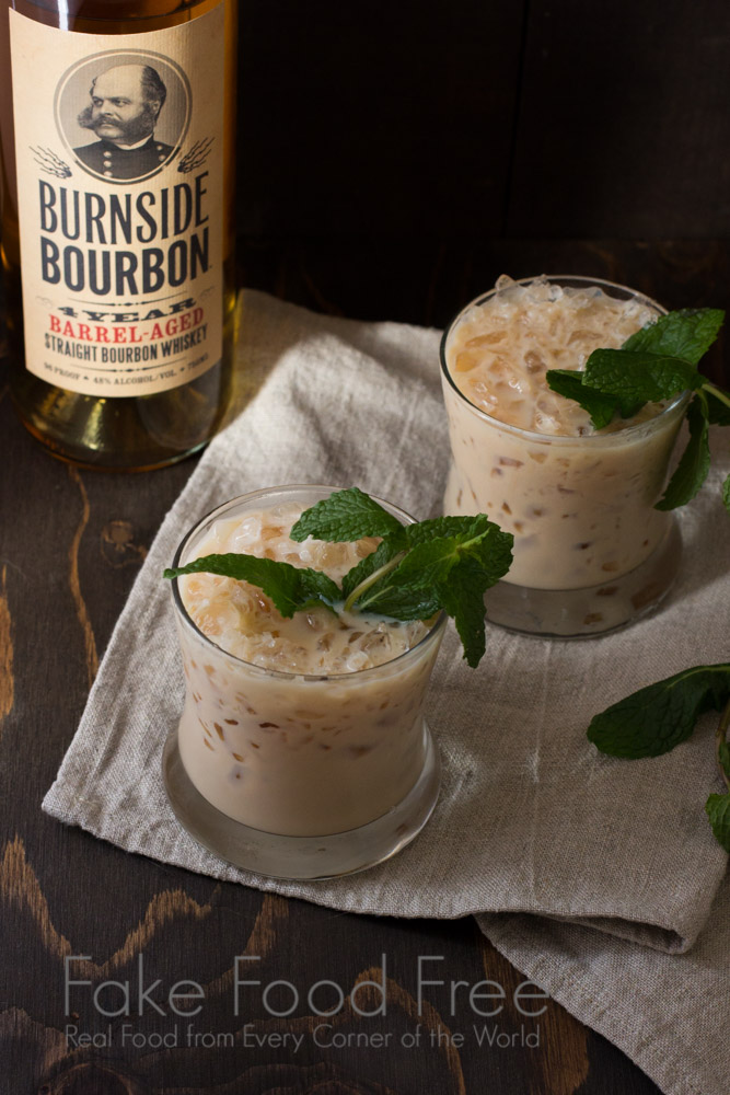 Mint Julep Bourbon Ball Cocktail | Fake Food Free | A combination of bourbon, cream and chocolate liqueurs, and fresh mint.