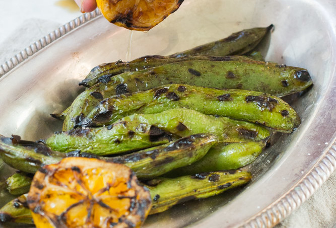Grilled Fava beans with Lemon
