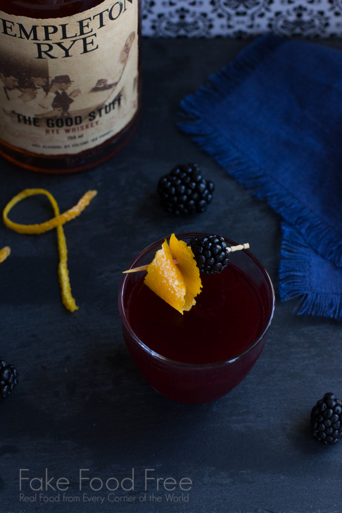 Blackberry Scofflaw Cocktail with Templeton Rye Whiskey   Fake Food Free