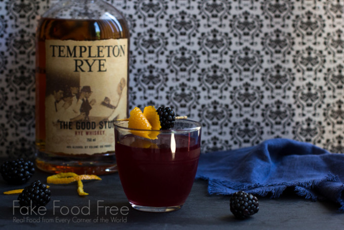 Blackberry Scofflaw Cocktail with Templeton Rye Whiskey | Fake Food Free