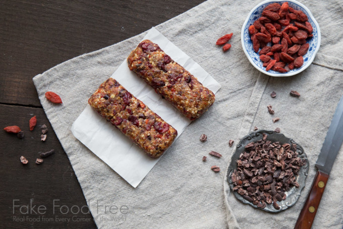 Chocolate Cherry Goji Bars from Superfood Snacks by Julie Morris | Fake Food Free