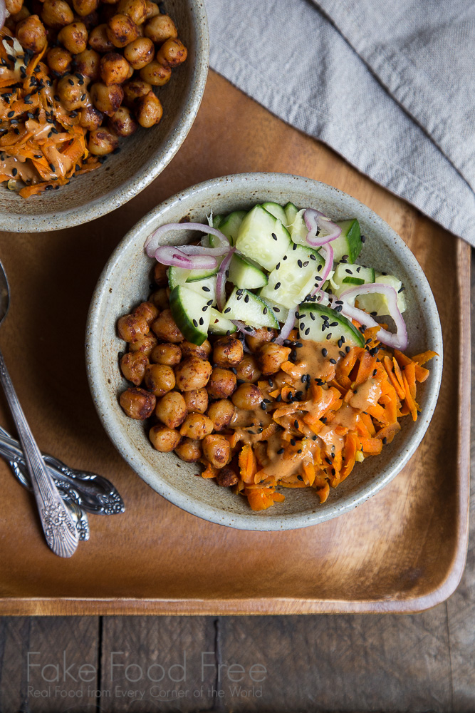 Chickpea Bowls with Ginger Cucumbers and Spicy Peanut Sauce Recipe | Fake Food Free