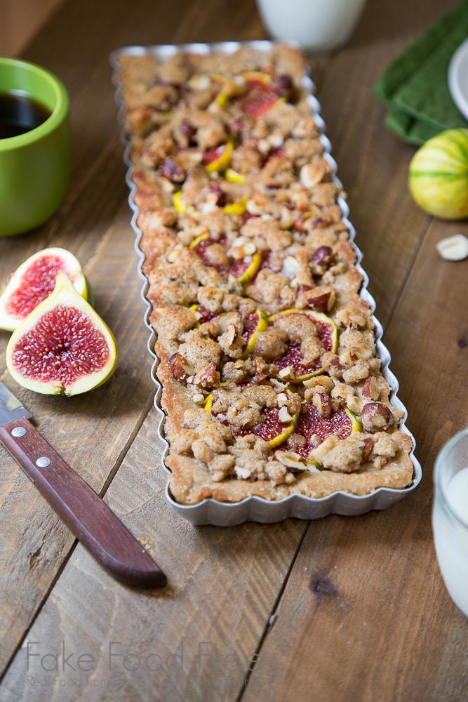 Honey Bourbon Fig and Hazelnut Tart | Fake Food Free