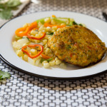 Fish Burgers with Skillet Corn and Sweet Peppers