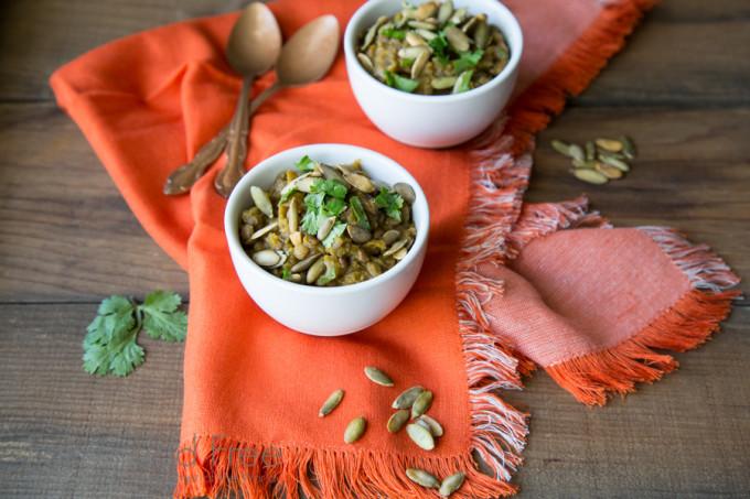 Acorn Squash Lentils with Pumpkin Seeds and Cilantro Recipe | Fake Food Free
