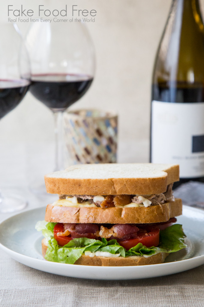 Club Sandwich with Duck Breast, Cambozola, Applewood Smoked Bacon and Roasted Garlic | Paired with The Hess Collection Small Block Series 2012 Napa Valley Syrah | Fake Food Free | #sponsored