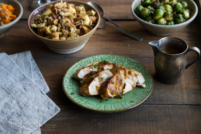 Beer Basted Turkey with Gravy and Green Olive Pecan Sourdough Stuffing | Thanksgiving Cooking for Two | Fake Food Free