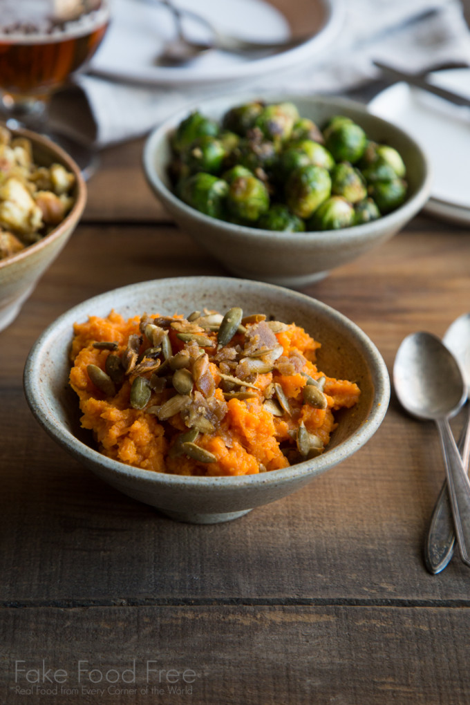 Brussels Sprouts in Parmesan Garlic Butter and Smoky Maple Sweet Potatoes with Cinnamon Sugared Pepitas | Thanksgiving Cooking for Two | Fake Food Free