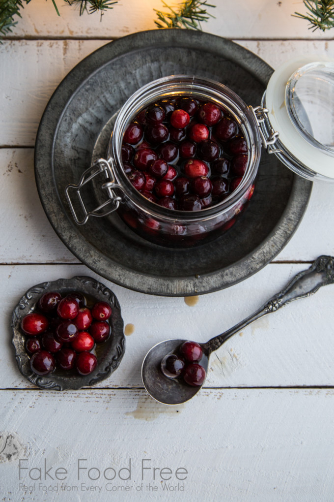Spiced Bourbon Soaked Cranberries Recipe | Fake Food Free | Delicious for garnishing cocktails or even for topping your pancakes!