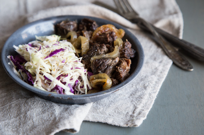 Braised Boneless Short Ribs with Citrus Garlic Slaw