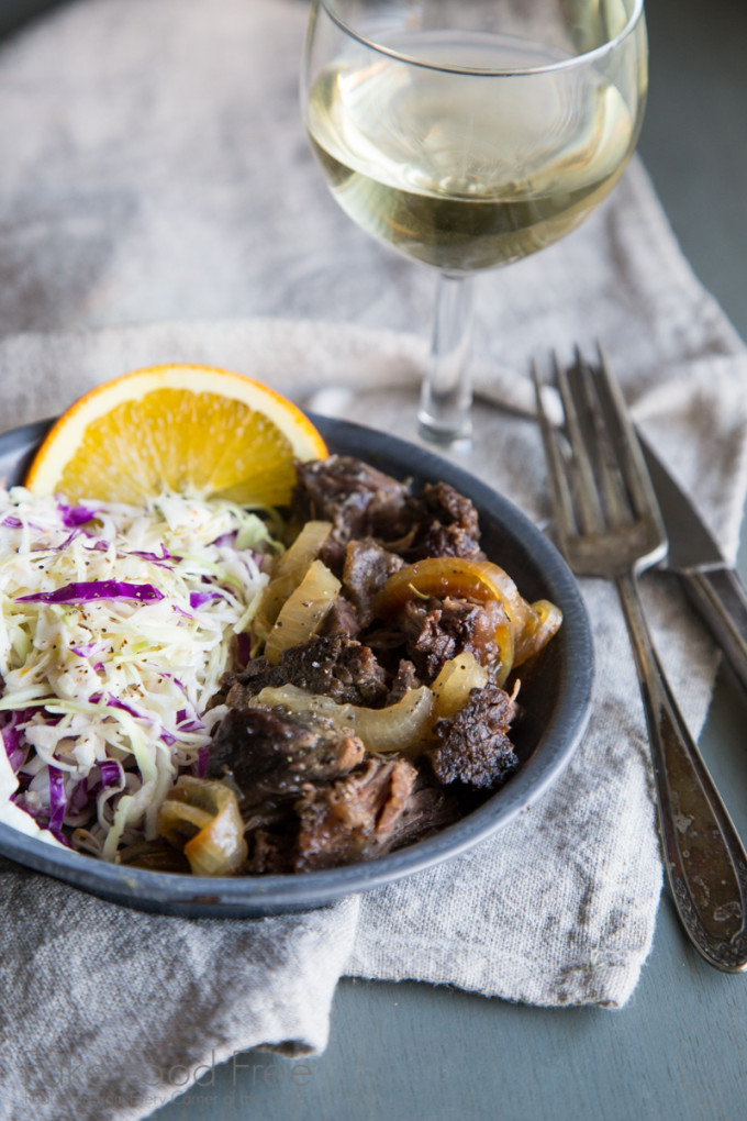 Braised Boneless Short Ribs with Garlic Citrus Slaw | Fake Food Free | Made with grass-fed beef I received from Butcher Box!