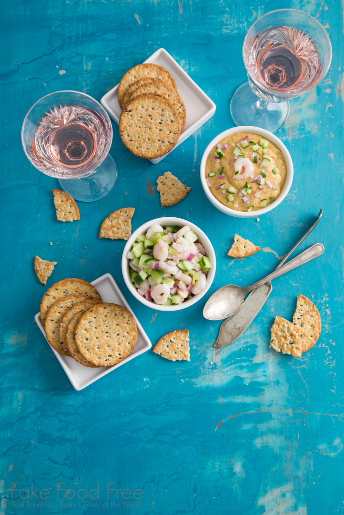 Smoky Chipotle Shrimp Dip with Shrimp Cucumber Salad Recipe | Paired with Cultivar 2015 Napa Valley Rose | Fake Food Free #cultivarwinebloggers #partner