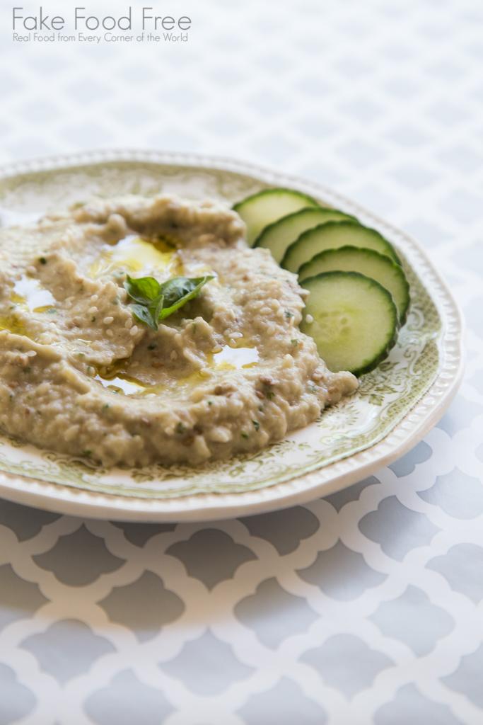 Grilled Baba Ganoush with Basil Garlic Olive Oil | Fake Food Free
