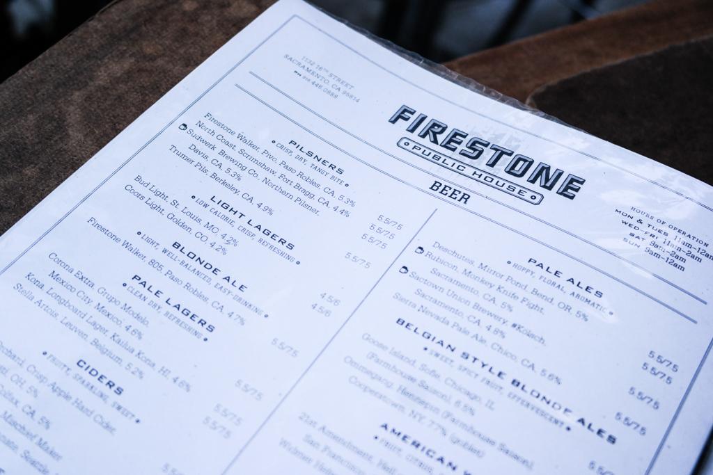 Firestone Public House Beer Menu, Sacramento   Fake Food Free
