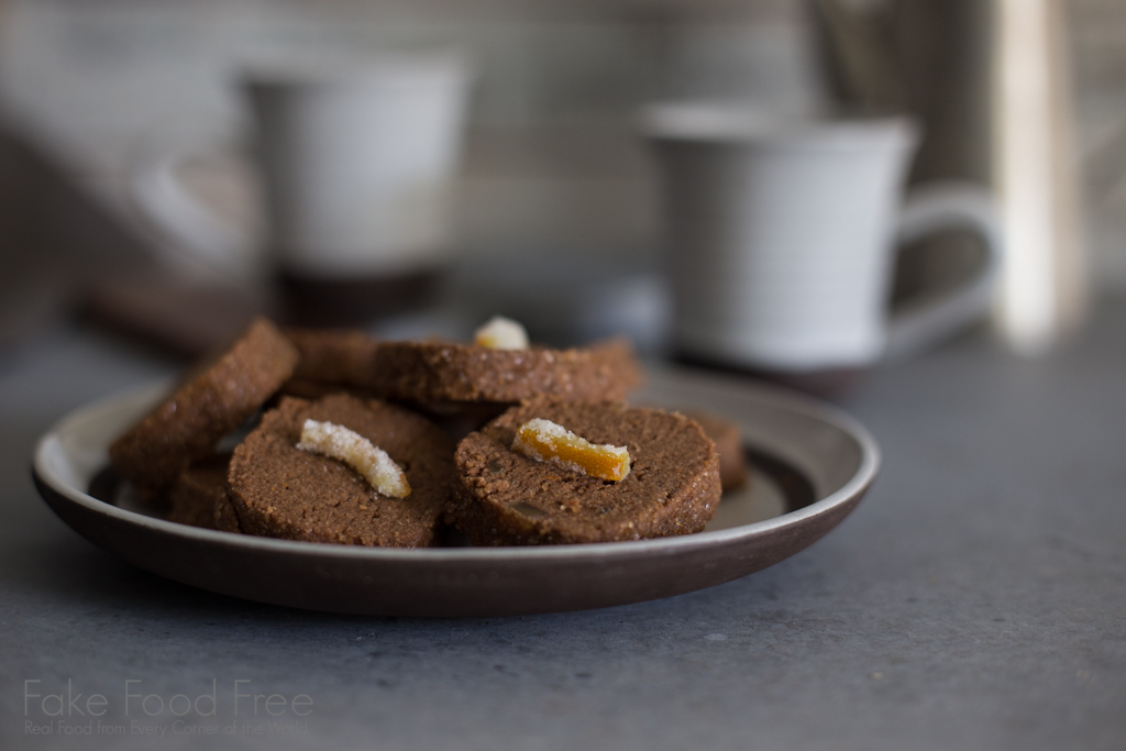 Orange Candied Ginger Chocolate Shortbread Cookie Recipe