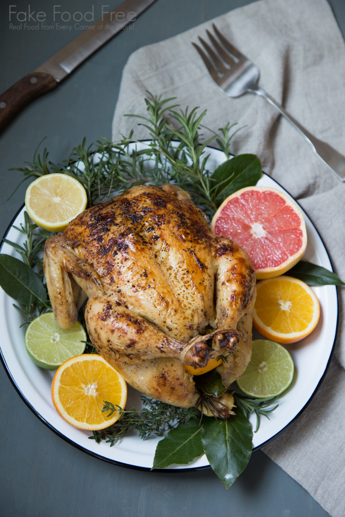 Recipe for Citrus Roasted Whole Chicken | Fake Food Free #sponsored